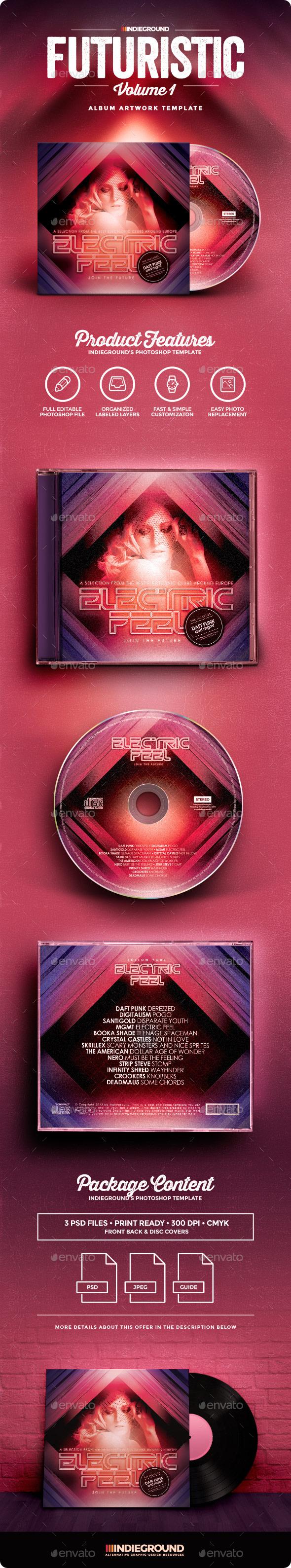Futuristic CD Album Artwork - CD & DVD Artwork Print Templates