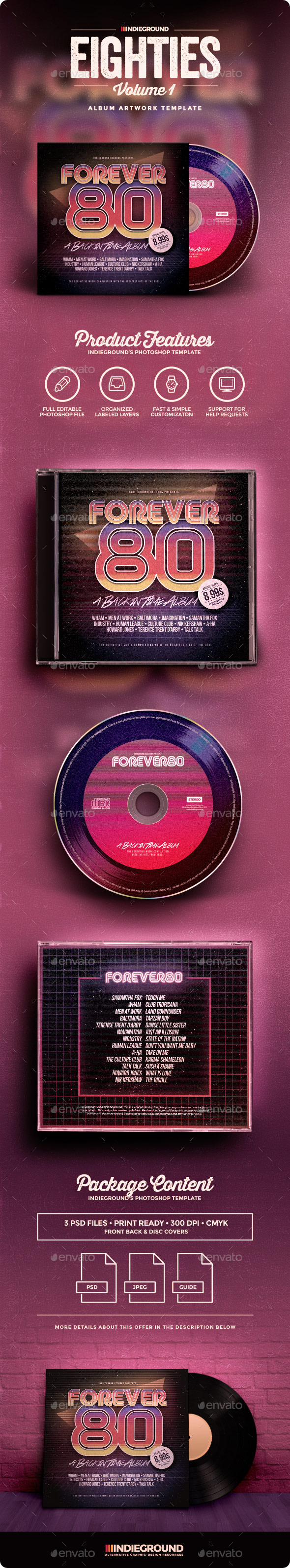 80s CD Album Artwork - CD & DVD Artwork Print Templates