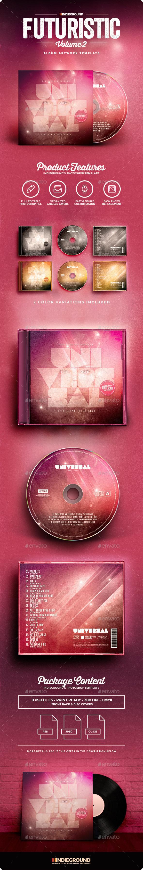 Futuristic CD Album Artwork Vol. 2 - CD & DVD Artwork Print Templates