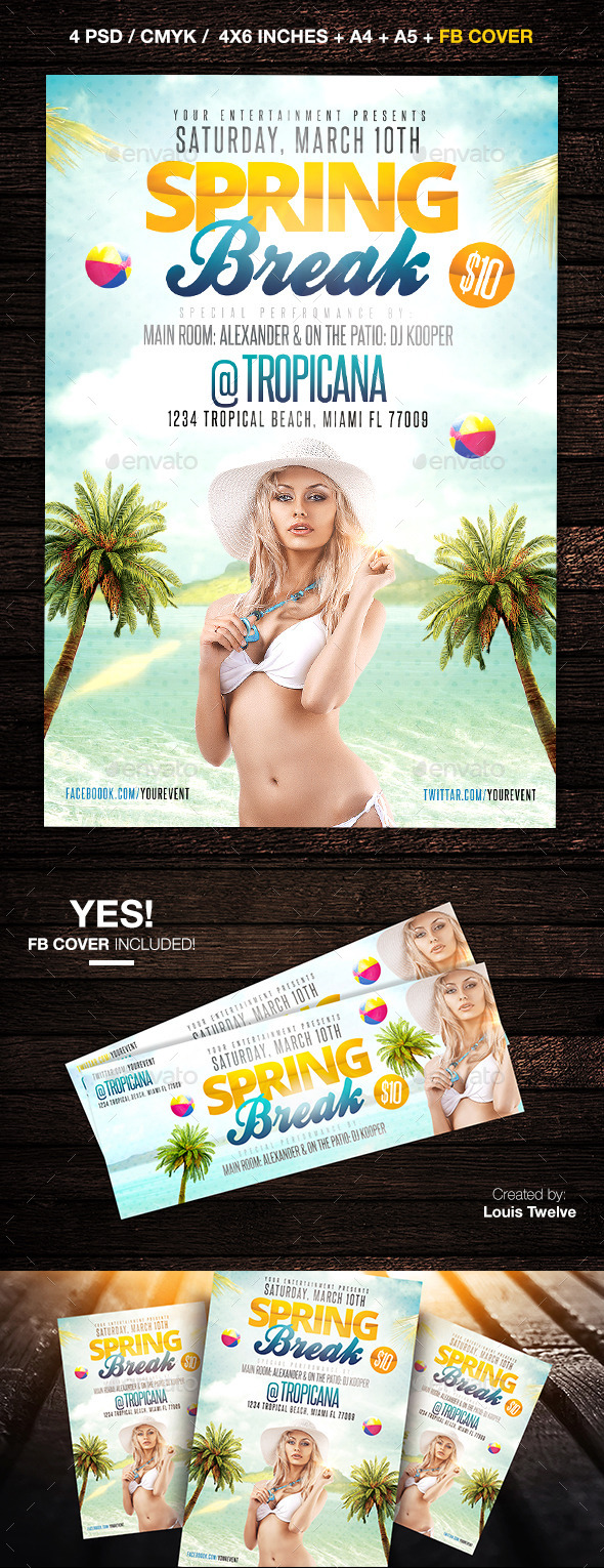 Spring Break or Beach Party Flyer + FB Cover - Clubs & Parties Events