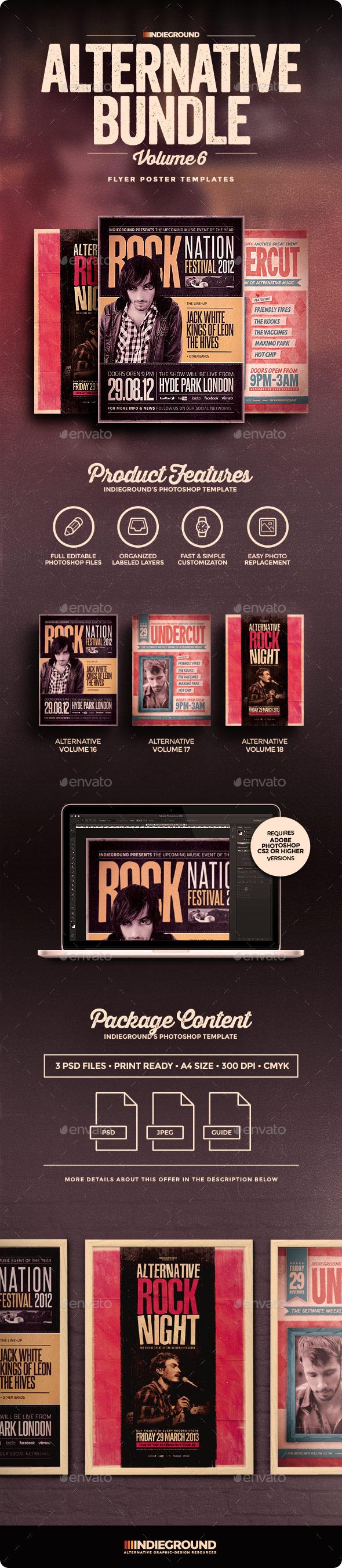 Alternative Flyer/Poster Bundle Vol. 16-18 - Concerts Events