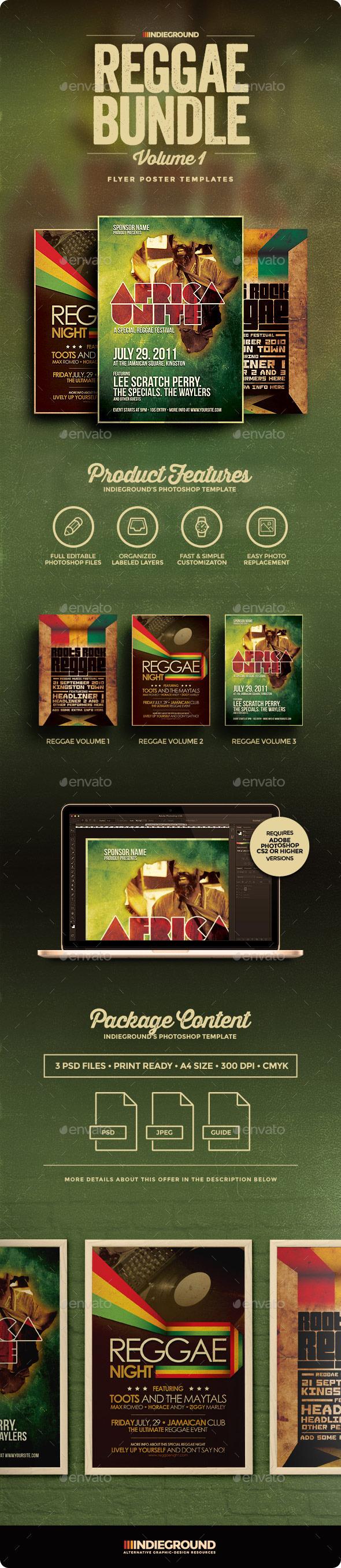 Reggae Flyer/Poster Bundle Vol. 1-3 - Clubs & Parties Events