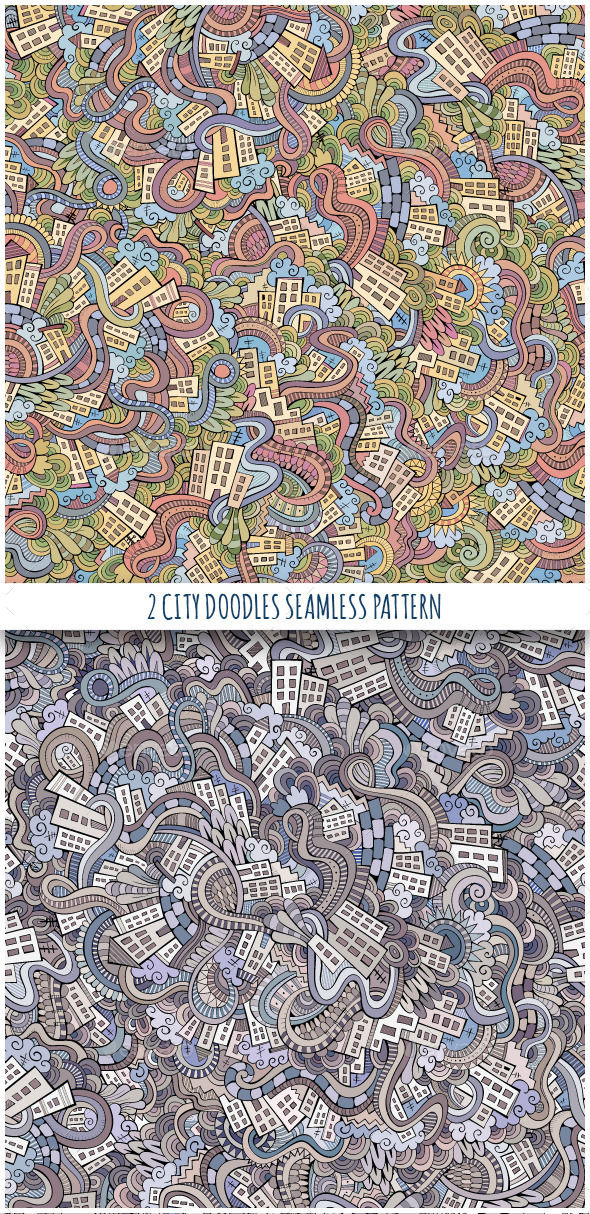 2 Doodles Houses Seamless Pattern - Buildings Objects