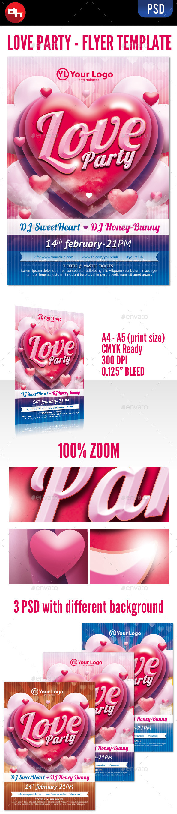 Valentine's Love Party Flyer - Clubs & Parties Events