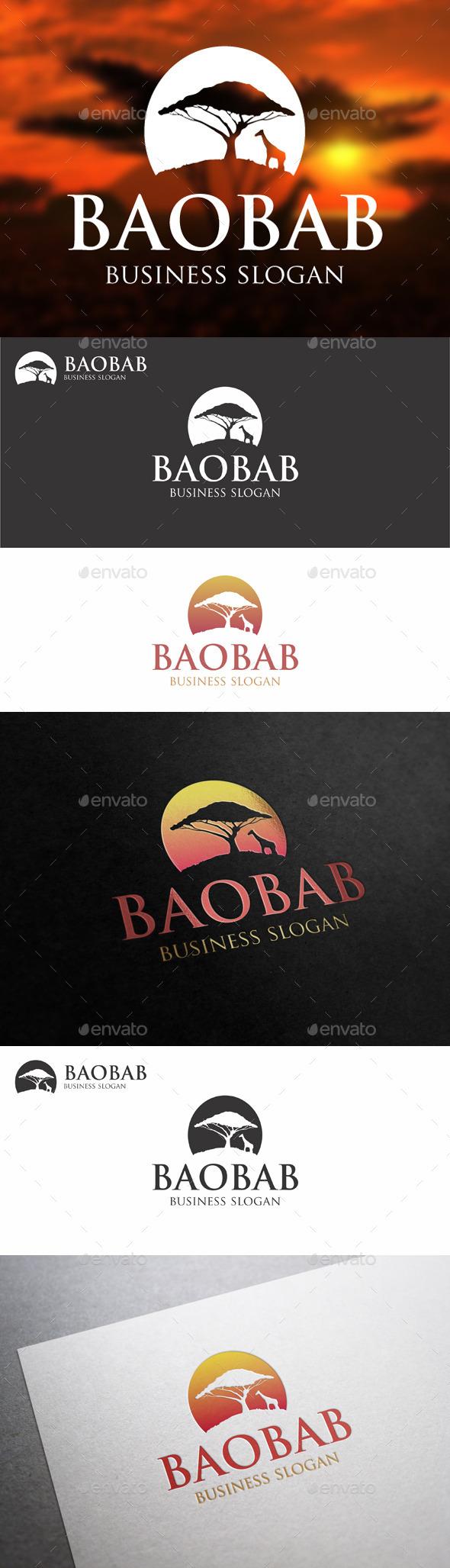 Baobab Tree - African Landscape Logo