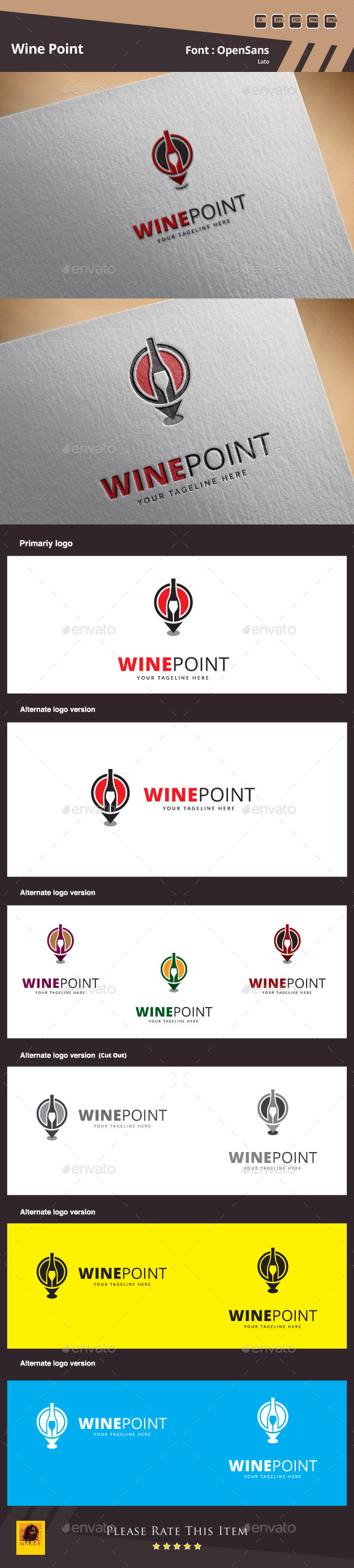 Wine Point Logo Template - Symbols Logo Templates