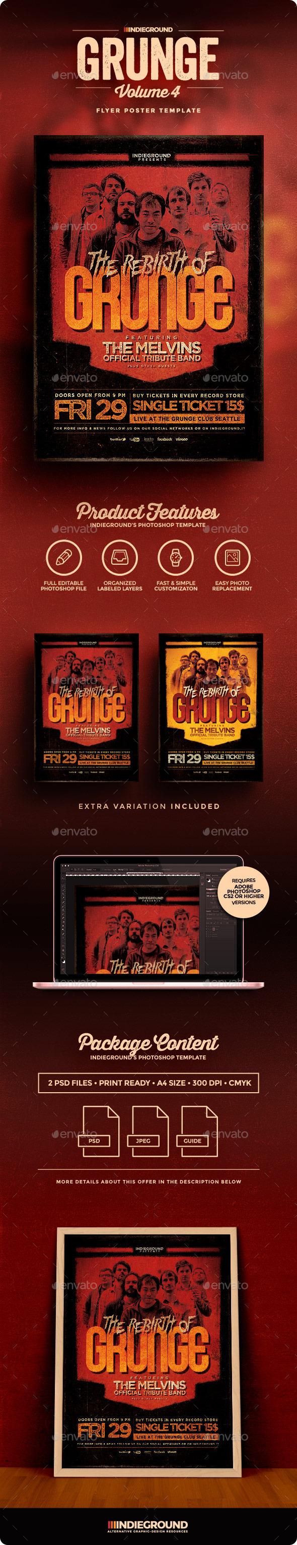 Grunge Flyer/Poster Vol. 4 - Concerts Events