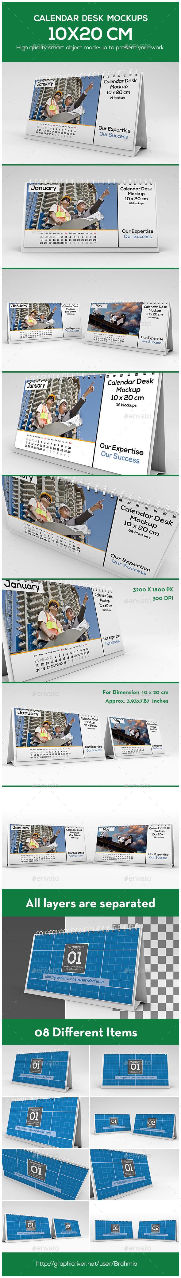 Calendar Desk Mockups For 10x20 cm - Miscellaneous Print