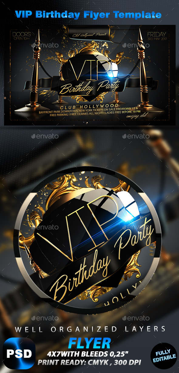 VIP Birthday Flyer Template - Events Flyers
