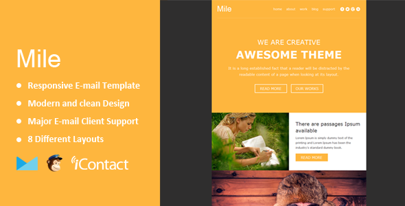 Mile – Responsive E-mail Template + Themebuilder Access