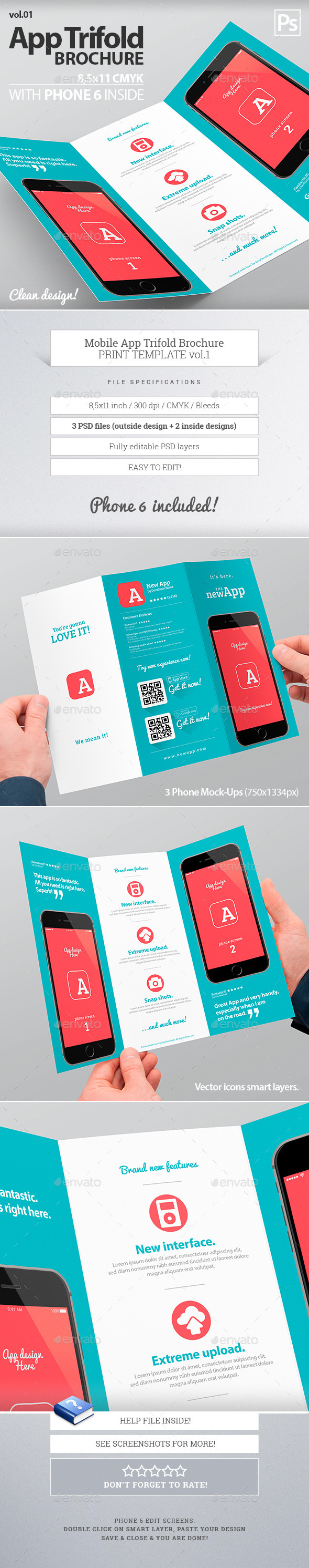 Mobile App Trifold Brochure vol.1 - Brochures Print Templates