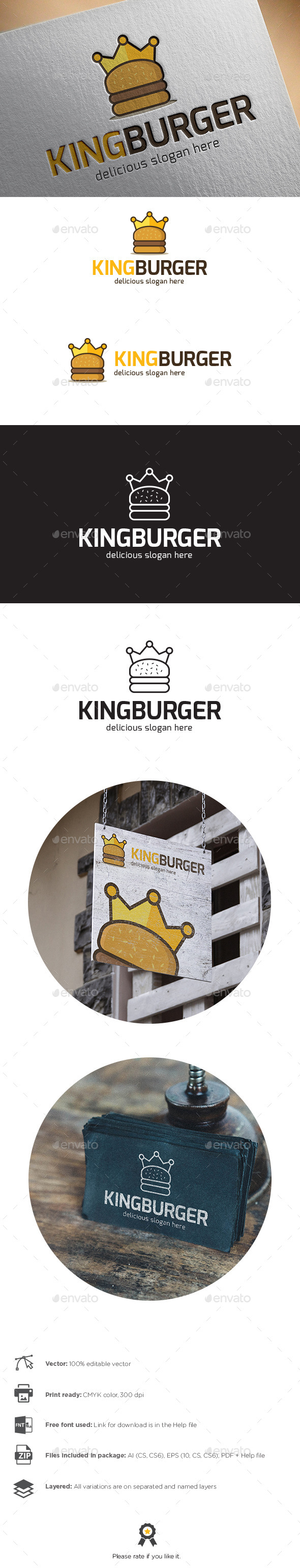 King Burger Logo - Objects Logo Templates