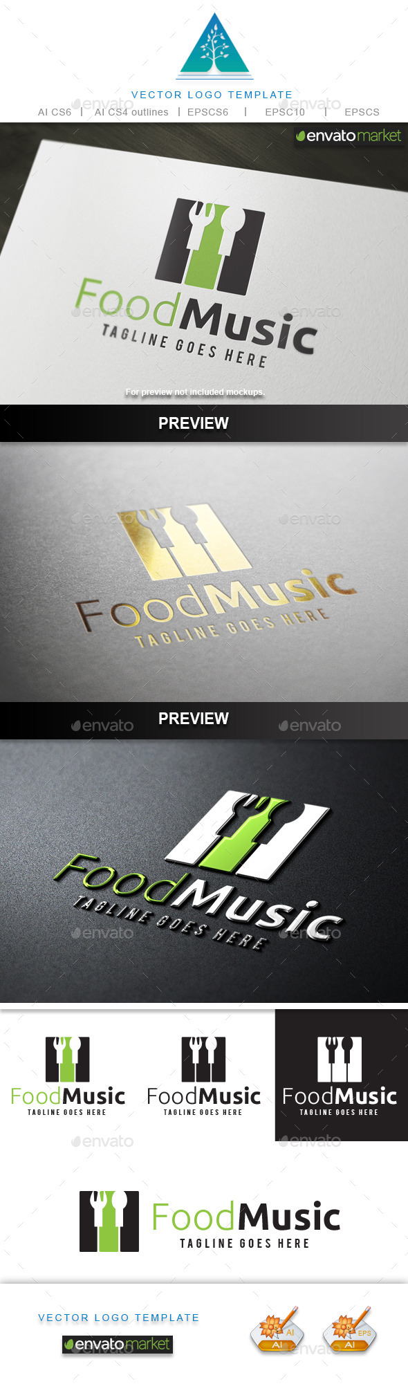 Food Music Logo - Food Logo Templates