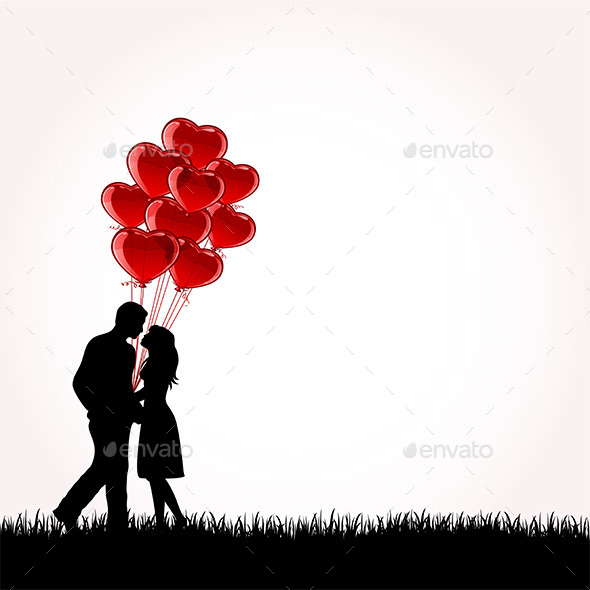 Couple with Balloons - Valentines Seasons/Holidays