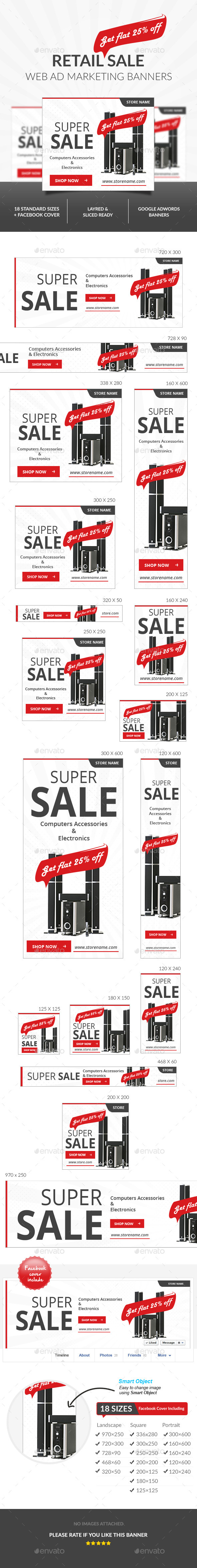Retail Sale Ad Banners  - Banners & Ads Web Elements
