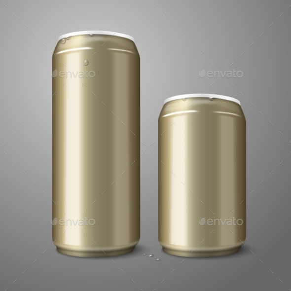Two Blank Golden Beer Cans - Man-made Objects Objects