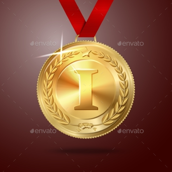 Golden First Place Medal with Red Ribbon - Man-made Objects Objects