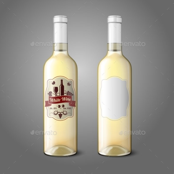 Two Realistic Bottles for White Wine with Labels - Man-made Objects Objects