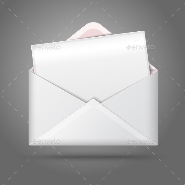 Blank Opened Envelope and Postcard - Man-made Objects Objects