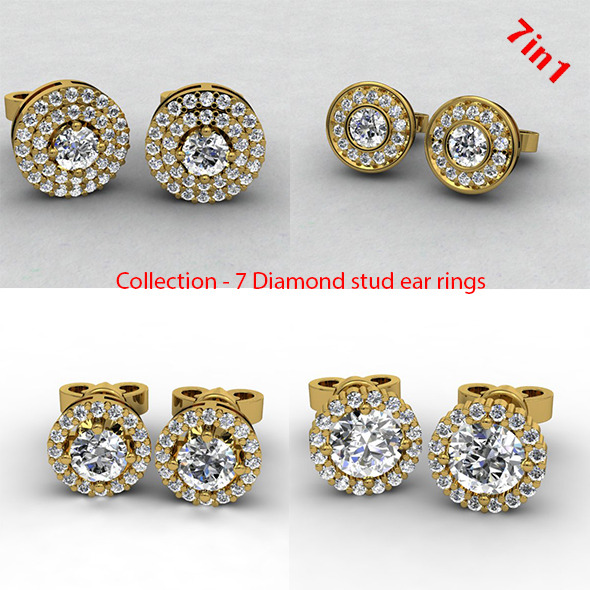 Diamond Stud Earrings - 3DOcean Item for Sale