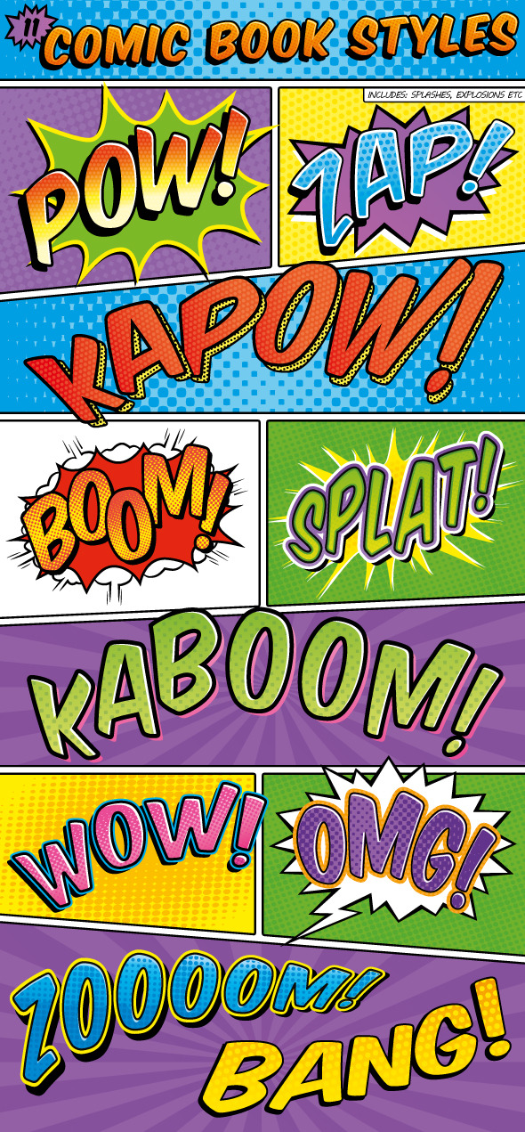 Comic Book Text Styles - Styles Illustrator