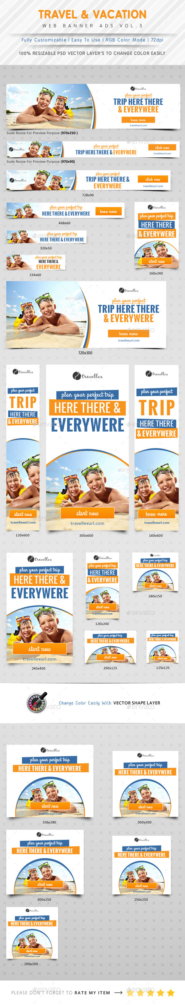 Vacation & Travel Agency Ads Vol.5 - Banners & Ads Web Elements