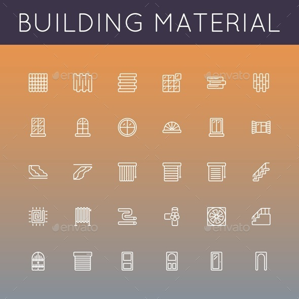 Vector Building Material Line Icons - Industries Business