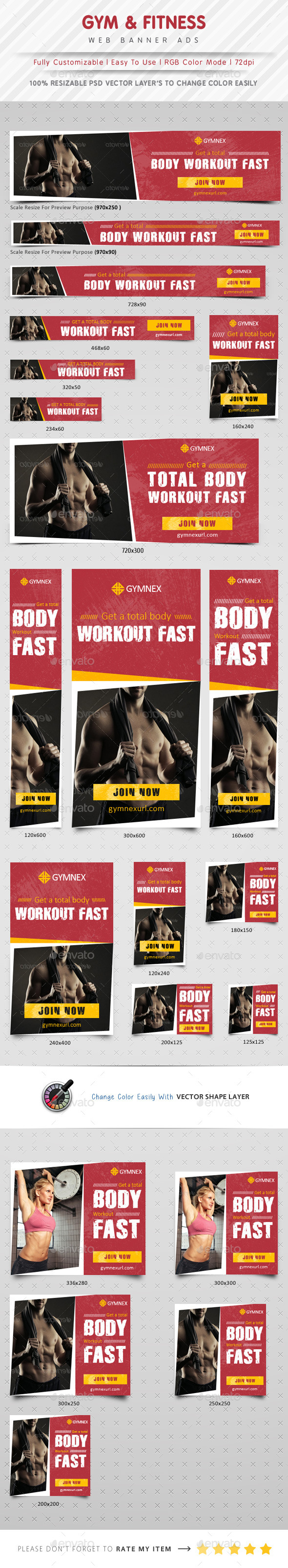 GYM & Fitness Web Banner Ads - Banners & Ads Web Elements