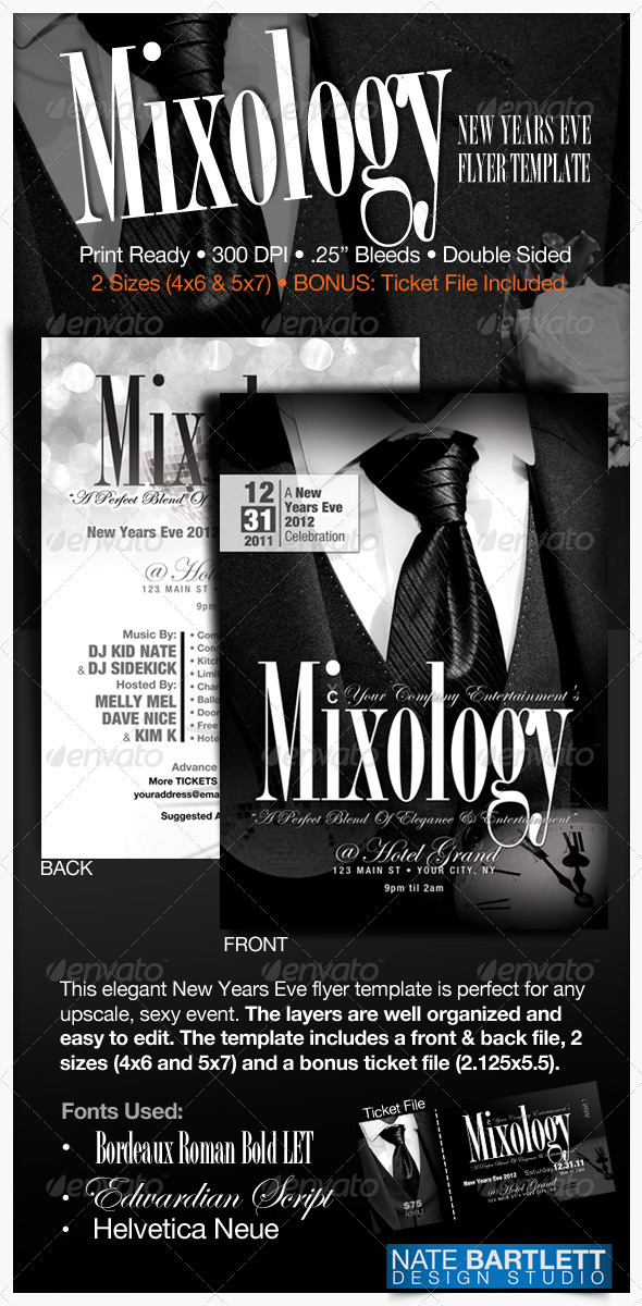Mixology - New Years Eve Flyer - Clubs & Parties Events