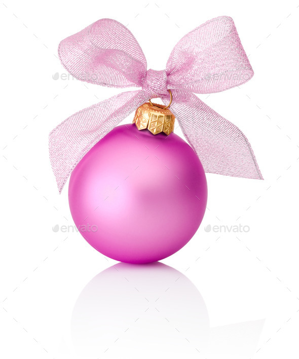 Pink Christmas ball with ribbon bow Isolated on white background - Stock Photo - Images