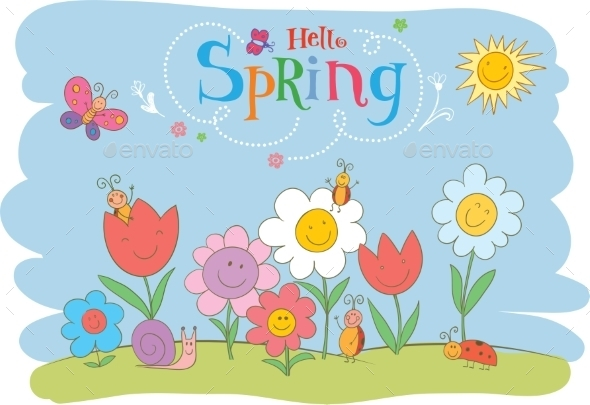Hello Spring Greeting Card - Flowers & Plants Nature