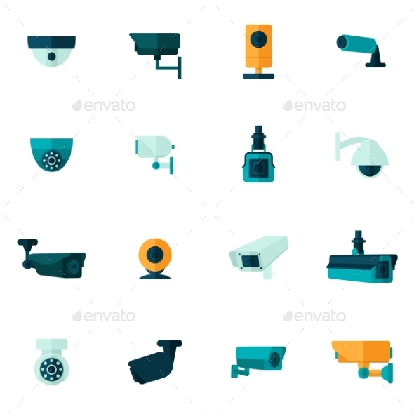 Security Camera Icon Flat - Technology Icons
