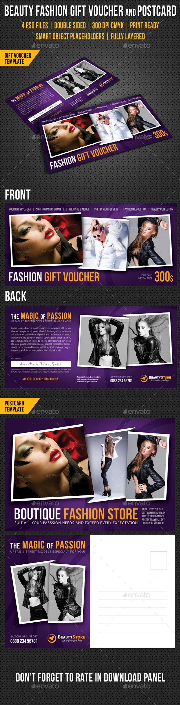 Beauty Fashion Gift Voucher and Postcard V04 - Cards & Invites Print Templates