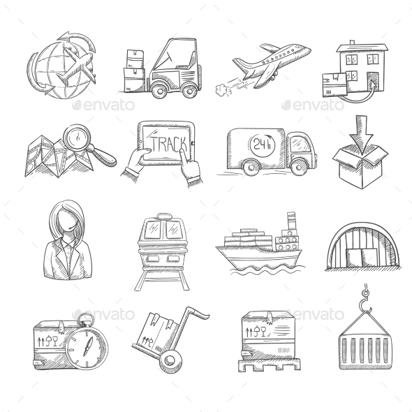 Logistics Sketch Set - Miscellaneous Vectors