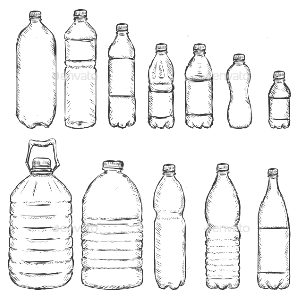 Vector Set of Sketch Plastic Bottles - Food Objects