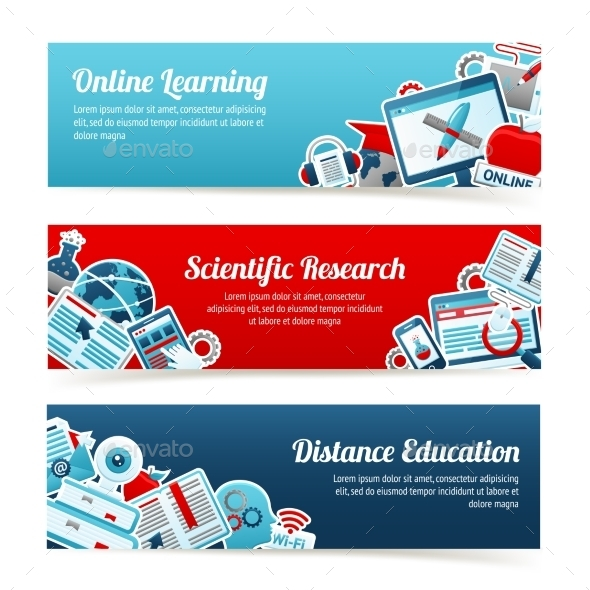 Online Education Banners - Conceptual Vectors