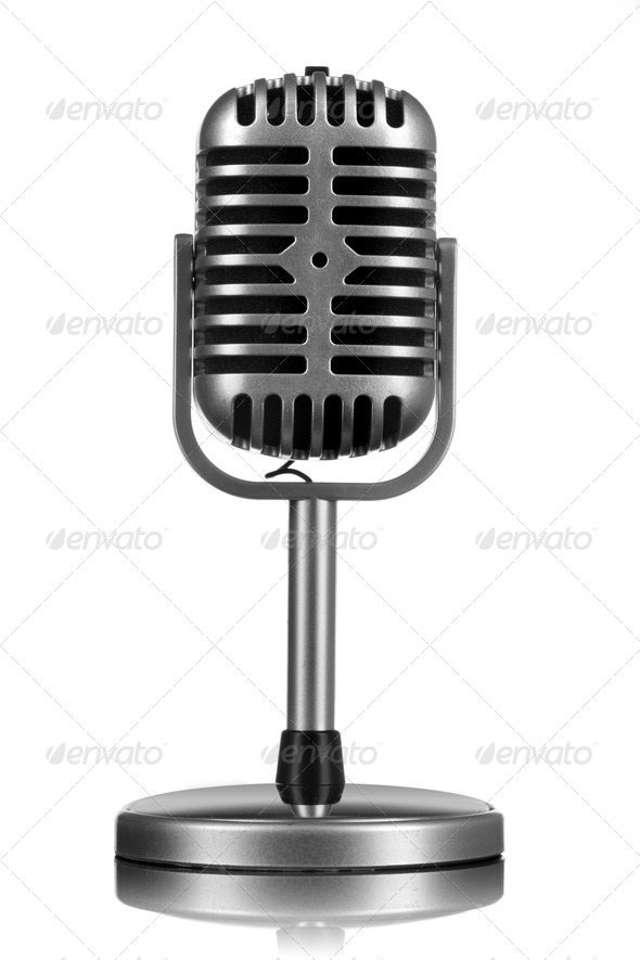 Retro microphone isolated on white - Stock Photo - Images