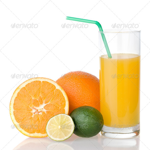 orange juice with straw and orange, lime isolated on white - Stock Photo - Images