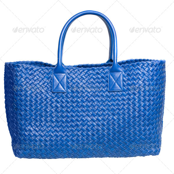 luxury blue leather female bag isolated on white - Stock Photo - Images