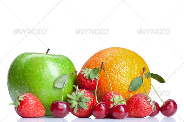 Summer fresh fruits isolated on white - Stock Photo - Images