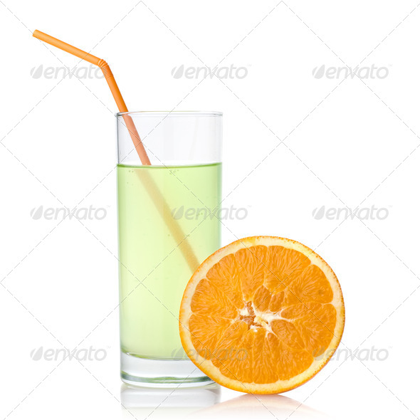 lime juice with orange isolated on white - Stock Photo - Images