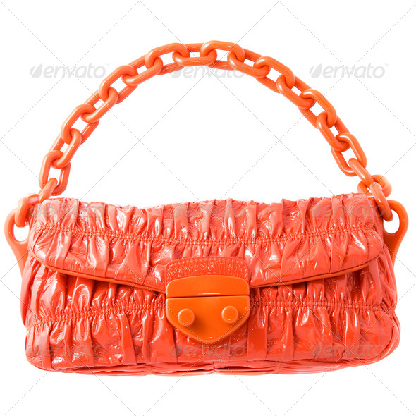 luxury red leather female bag isolated on white - Stock Photo - Images