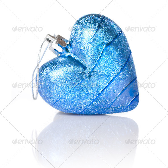 blue christmas ball in shape of heart isolated on white - Stock Photo - Images