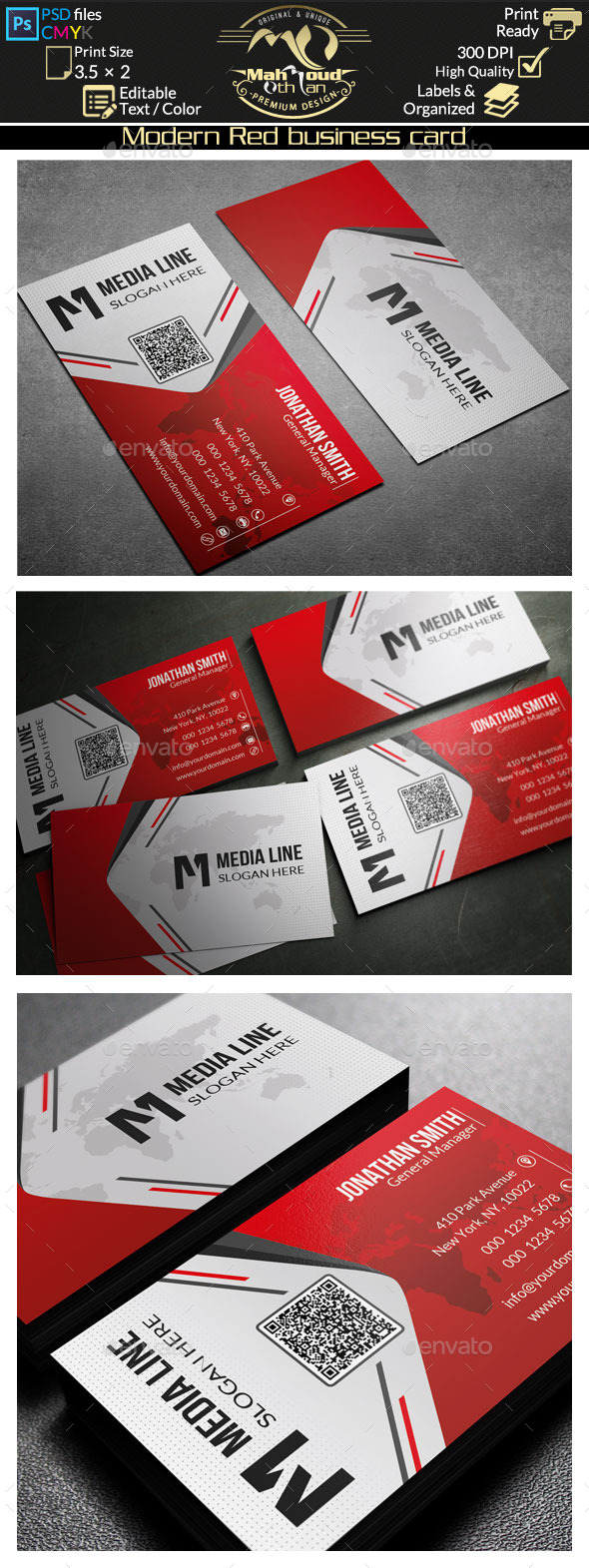 Modern Red Business Card - Corporate Business Cards