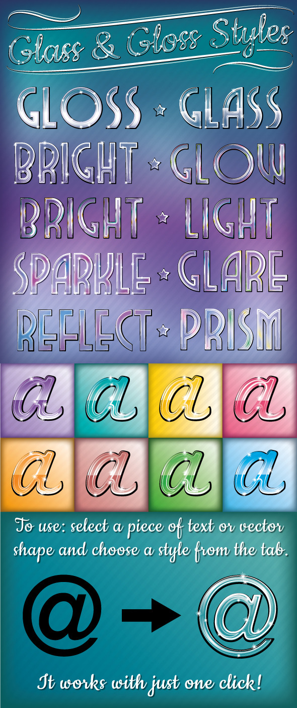 Glass & Gloss Text Styles - Styles Illustrator