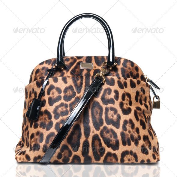 luxury leopard female bag isolated on white - Stock Photo - Images