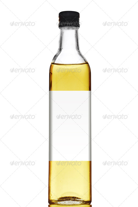 Olive oil bottle with blank label isolated on white - Stock Photo - Images