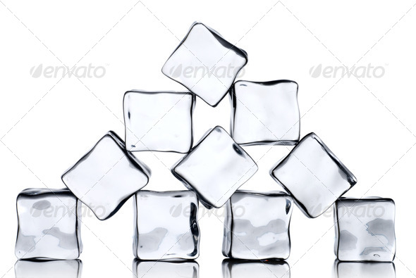 ice cubes isolated on white - Stock Photo - Images