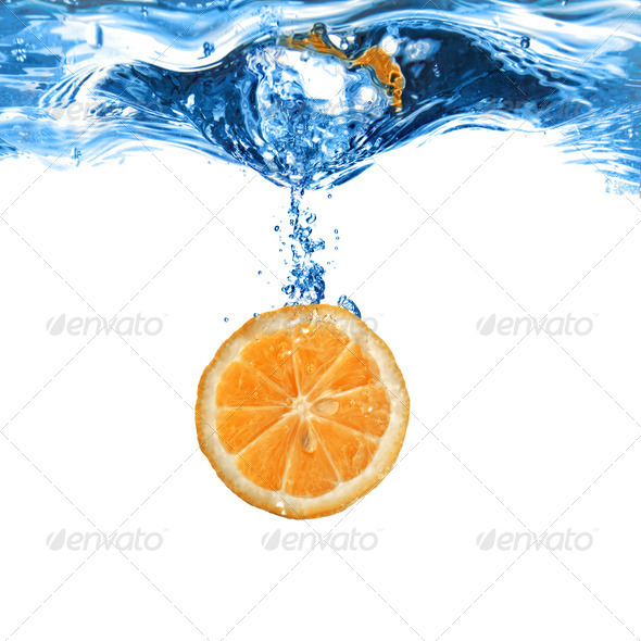 Fresh orange dropped into water with bubbles isolated on white - Stock Photo - Images