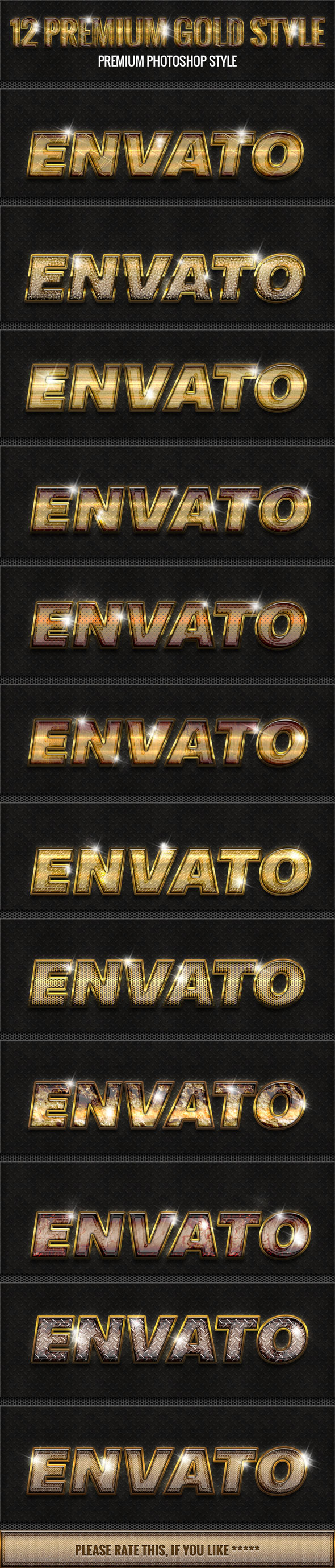 12 New Gold Style 3 - Styles Photoshop